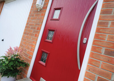 4 square Red Composite door with curved long bar handle