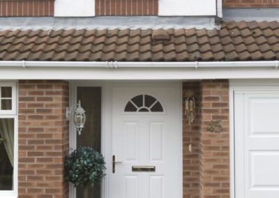White Composite door 4 panel sunburst