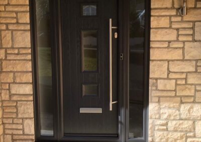 Seyward Composite Contemporary Front door with Long Bar handle