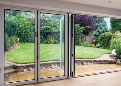 White smart system aluminum bi-fold doors