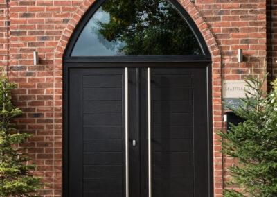 Black double composite door with 1800 handles