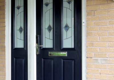 Blue door murano glass composite door and sidepanel