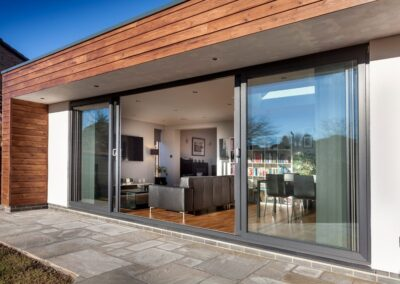 Grey UPVC Four Pane Patio Doors