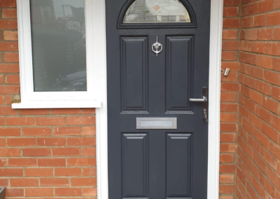 Composite grey door and side window