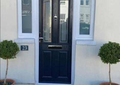 Blue Composite door with Enfield Glass