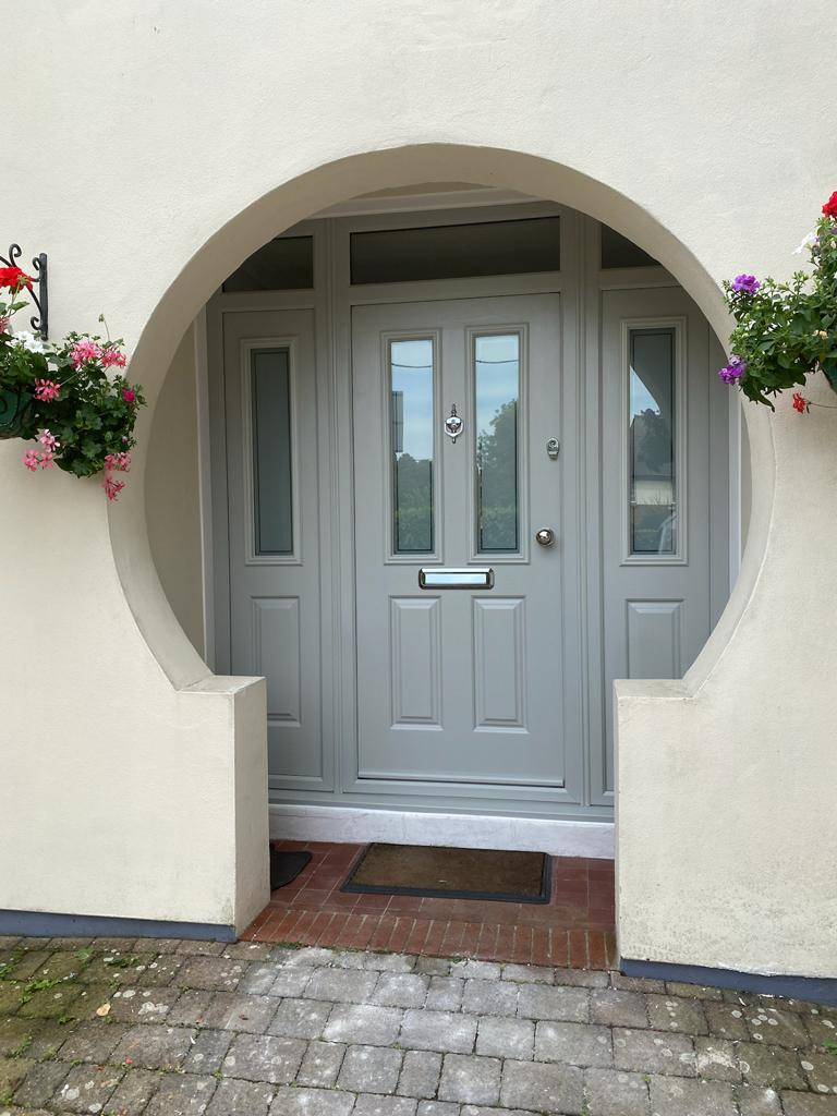 Etna Pearl Grey door and sidelights fitted in Broadstone