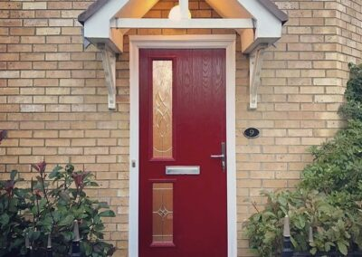 Red Composite door twin side bevelled glass
