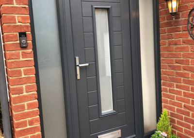Endurance Anthracite Grey Composite door with sidelights, Satin obscure glass