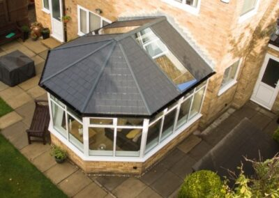 Tiled roof with glass panels ariel view Poole