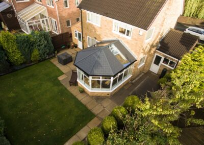 Tiled roof with glass panels ariel view