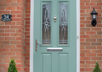 Two panel two angle Chartwell Green front door