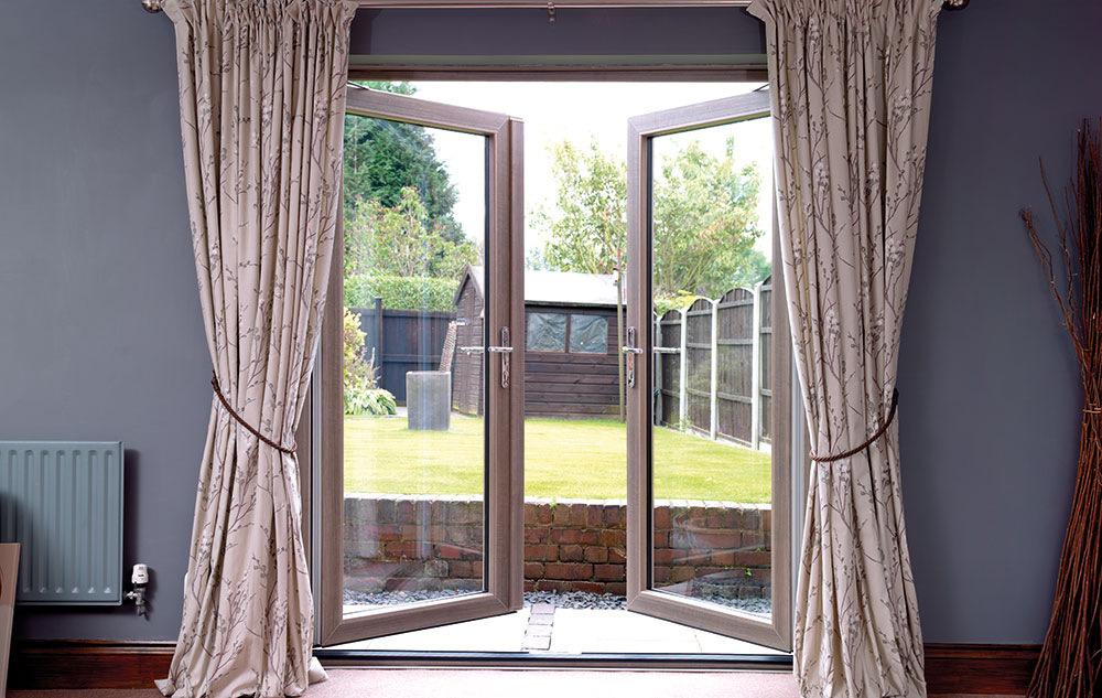 Woodgrain UPVC French doors